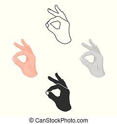 stile, casato, segno, simbolo, cartone animato, nero, mano, approvazione, isolato, icona, vettore, fondo., illustration., gesti, bianco