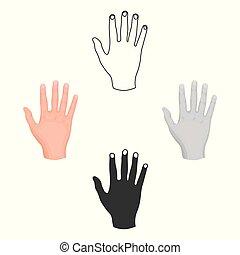 stile, casato, simbolo, cartone animato, nero, mano, isolato, alto, icona, vettore, cinque, fondo., illustration., gesti, bianco