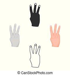 stile, casato, simbolo, cartone animato, nero, mano, isolato, icona, vettore, tre, fondo., dita, illustration., gesti, bianco