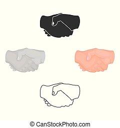 stile, casato, simbolo, cartone animato, nero, mano, isolato, stretta di mano, icona, vettore, fondo., illustration., gesti, bianco