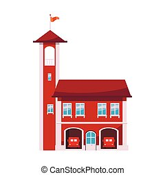stile, caserma dei pompieri, icona, torre, cartone animato