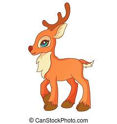 stile, cervo, poco, cartone animato