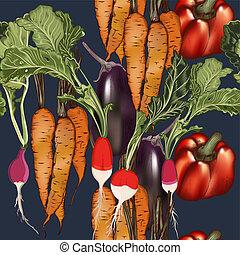 stile, cibo, modello, verdura, vegan, carrot.eps, vettore, vendemmia, melanzana