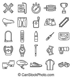 stile, ciclismo, contorno, icone, set, kit, apparecchiatura