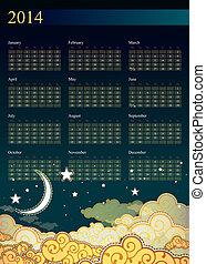 stile, cielo, notte, calendario, cartone animato, 2013