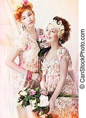 stile, classico, vendemmia, freshness., giovane, due, flowers., carino, pin-up, vestiti, donne