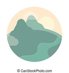 stile, colline, paesaggio fiume, icona, appartamento, natura