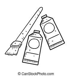stile, colorare, scarabocchiare, spazzola, olio
