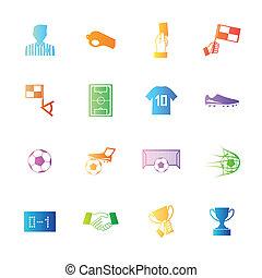 stile, colorito, icone, set., football, vettore, calcio