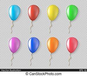 stile, colorito, isolato, collezione, realistico, vettore, palloni