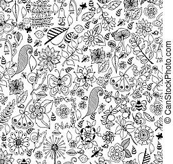 stile, coloritura, arte, zen, pagina, pattern., seamless, collezione, oceano, fondo., vettore, nero, white., seashells, disegnato, linea bianca, tangle., design.