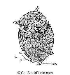 stile, coloritura, ornanets, owl., isolato, illustrazione, libro, disegno, adulto, zentangle, pagina, riempire