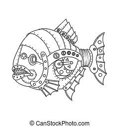stile, coloritura, steampunk, fish, piranha, vettore, libro