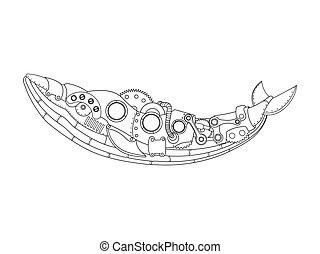 stile, coloritura, steampunk, vettore, balena, libro