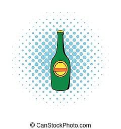 stile, comics, birra, verde, bottiglia, icona