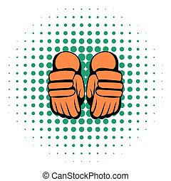 stile, comics, paio, guanti, hockey, icona