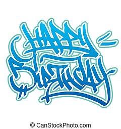 stile, compleanno, graffito, felice