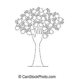 stile, concetto, contorno, albero, mano, sociale, aiuto