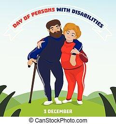 stile, concetto, gli utenti disabili, giorno, persona, fondo, cartone animato