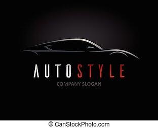 stile, concetto, silhouette, auto, sport, disegno, veicolo, ...