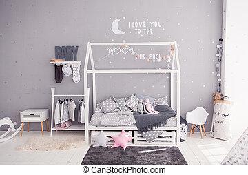 stile, confortevole, accessori, scandinavo, bambini, bricolage, camera letto