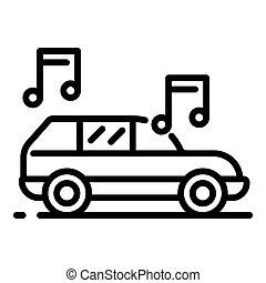 stile, contorno, automobile, musica, icona, bello