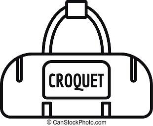 stile, contorno, borsa, croquet, icona, sport