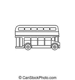 stile, contorno, bus decker duplice, icona
