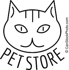 stile, contorno, coccolare, gatto, negozio, logotipo