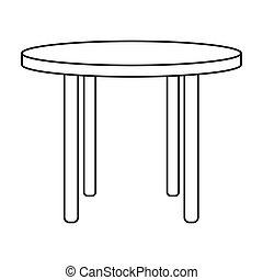 stile, contorno, icona, legno, simbolo, isolato, fondo., vettore, tavola, interno, casa, bianco, casato, rotondo, mobilia, illustration.
