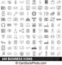 stile, contorno, icone affari, set, 100