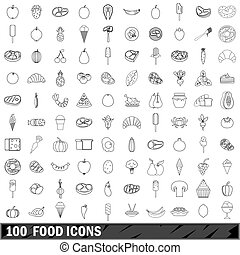 stile, contorno, icone, cibo, set, 100