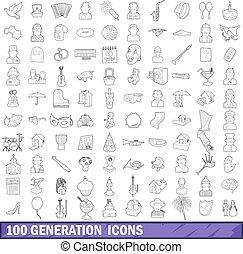 stile, contorno, icone, generazione, set, 100