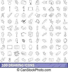 stile, contorno, icone, set, 100, disegno
