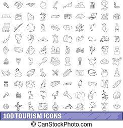 stile, contorno, icone, set, 100, turismo
