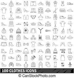 stile, contorno, icone, set, 100, vestiti