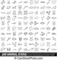 stile, contorno, icone, set, animale, 100