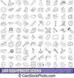 stile, contorno, icone, set, apparecchiatura, 100