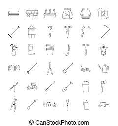 stile, contorno, icone, set, apparecchiatura, agricoltura, giardino