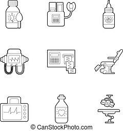 stile, contorno, icone, set, apparecchiatura diagnostica