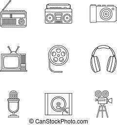 stile, contorno, icone, set, apparecchiatura, elettronico