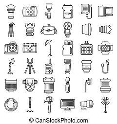 stile, contorno, icone, set, apparecchiatura foto