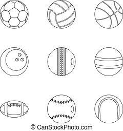 stile, contorno, icone, set, apparecchiatura, gioco