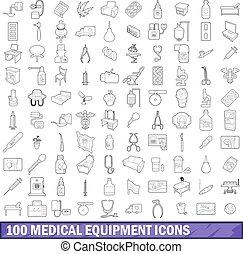 stile, contorno, icone, set, apparecchiatura medica, 100