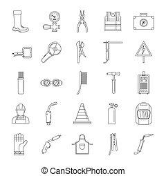 stile, contorno, icone, set, apparecchiatura, saldatore