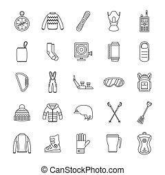 stile, contorno, icone, set, apparecchiatura, snowboard