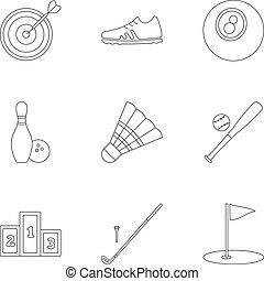 stile, contorno, icone, set, apparecchiatura sport