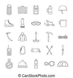 stile, contorno, icone, set, attrezzatura fa alpinismo