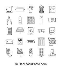 stile, contorno, icone, set, energia, apparecchiatura, solare