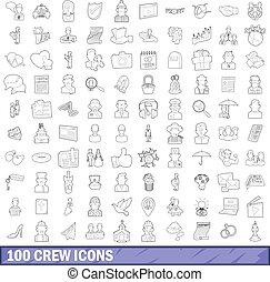 stile, contorno, icone, set, equipaggio, 100
